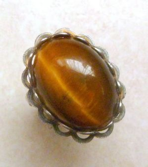 Vintage Adjustble Size Tigers Eye Gem Stone Ring.